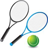 Tennis rackets and ball. Isolated picture of 2 different color tennis rackets and 1 tennis ball Stock Images