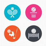 Tennis rackets with ball. Basketball basket. Circle buttons. Tennis rackets with ball. Basketball basket. Volleyball net with ball. Golf fireball sign. Sport Royalty Free Stock Image