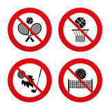 Tennis rackets with ball. Basketball basket. No, Ban or Stop signs. Tennis rackets with ball. Basketball basket. Volleyball net with ball. Golf fireball sign Stock Photos
