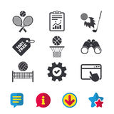 Tennis rackets with ball. Basketball basket. Volleyball net with ball. Golf fireball sign. Sport icons. Browser window, Report and Service signs. Binoculars Stock Image