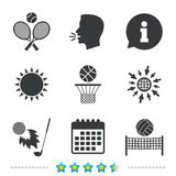 Tennis rackets with ball. Basketball basket. Volleyball net with ball. Golf fireball sign. Sport icons. Information, go to web and calendar icons. Sun and loud Royalty Free Stock Image