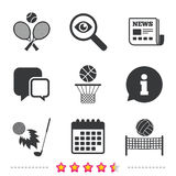 Tennis rackets with ball. Basketball basket. Volleyball net with ball. Golf fireball sign. Sport icons. Newspaper, information and calendar icons. Investigate Royalty Free Stock Photography