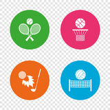 Tennis rackets with ball. Basketball basket. Volleyball net with ball. Golf fireball sign. Sport icons. Round buttons on transparent background. Vector Stock Photos