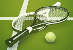 Tennis rackets with ball on green court background. Horizontal Stock Photo