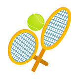 Tennis rackets with ball icon, isometric 3d style Royalty Free Stock Photos