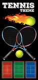 Tennis rackets and ball on poster Royalty Free Stock Images