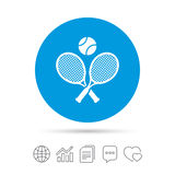 Tennis rackets with ball sign icon. Sport symbol. Royalty Free Stock Photos