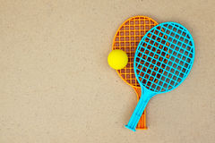 Tennis rackets and ball on the table. Ping pong Royalty Free Stock Images