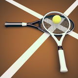 Tennis rackets and ball on the tennis court. Stock Photos