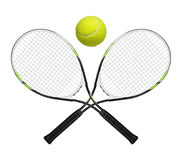 Tennis rackets. And ball on white background royalty free stock photography