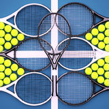Tennis rackets with balls on hard surface court. Square Stock Photography
