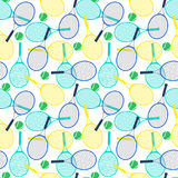 Tennis rackets and balls. Seamless pattern with tennis rackets and balls.Vector illustration Stock Photos