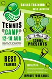 Tennis rackets and balls. Sport camp. Tennis sport rackets, balls and green court field on background. Tennis camp with best trainers of sport school, sporting vector illustration