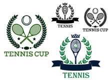 Tennis rackets and balls in sporting labels Stock Image