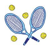 Tennis rackets and balls stock illustration