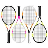 Tennis rackets in colors vector illustration