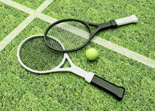 Tennis; rackets; court; grass. Royalty Free Stock Photos