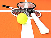 Tennis; rackets; court, ground. Royalty Free Stock Photos