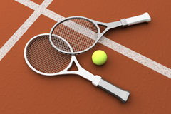 Tennis; rackets; court, ground. Stock Photography