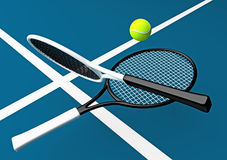 Tennis; rackets; court. Royalty Free Stock Image
