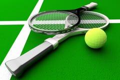 Tennis; rackets; court. Stock Photo