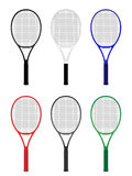 Tennis Rackets in Different Colours Stock Photo
