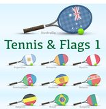 Tennis rackets & flags Stock Image