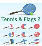 Tennis rackets & flags Royalty Free Stock Photos