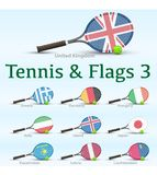 Tennis rackets & flags Royalty Free Stock Image