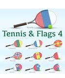 Tennis rackets & flags Royalty Free Stock Images