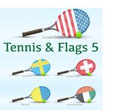 Tennis rackets & flags Stock Photos