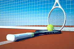 Tennis; rackets; sphere; court. Royalty Free Stock Photos