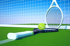 Tennis; rackets; sphere; court. Royalty Free Stock Photography