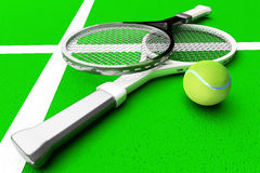 Tennis; rackets; sphere; court; game; green. Stock Photography