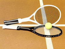 Tennis; rackets; sphere; court; game; ground. Royalty Free Stock Images