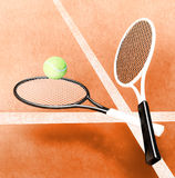 Tennis; rackets; sphere; court; game; ground. Royalty Free Stock Image