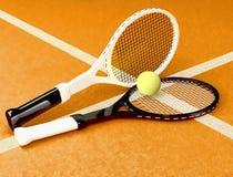 Tennis; rackets; sphere; court; game; ground. Stock Photo