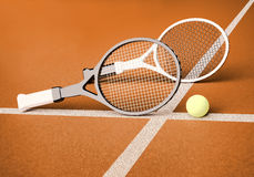 Tennis; rackets; sphere; court; ground. Royalty Free Stock Photography