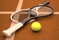 Tennis; rackets; sphere; ground; court. Royalty Free Stock Photo