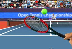 Tennis Racquet Back Hand Swing. Facing Spectator Stock Photography