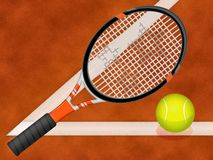 Tennis racquet and ball. Illustration of tennis racquet and ball royalty free illustration