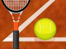 Tennis racquet and ball. Illustration of a tennis racquet and ball on a graphic background stock illustration