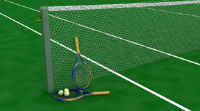 Tennis racquet and balls. 3d render of tennis racquet and balls Stock Images