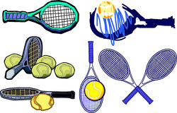 Tennis Racquet Images Vector. Vector Illustrations of Tennis Racquettes Stock Image