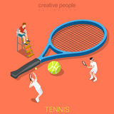 Tennis racquet racket players match flat isometric vector 3d. Tennis flat 3d isometry isometric sports concept web vector illustration. Big racquet racket and vector illustration
