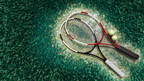 Tennis racquet and tennis balls on the tennis cour Stock Image