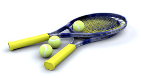 Tennis racquets and balls Stock Photography