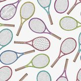 Tennis racquets, seamless pattern Royalty Free Stock Photo