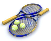 Tennis raquet and balls. 3d render of tennis raquet and balls Royalty Free Stock Image