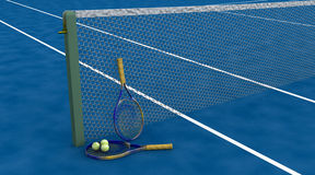 Tennis raquet and balls Stock Images